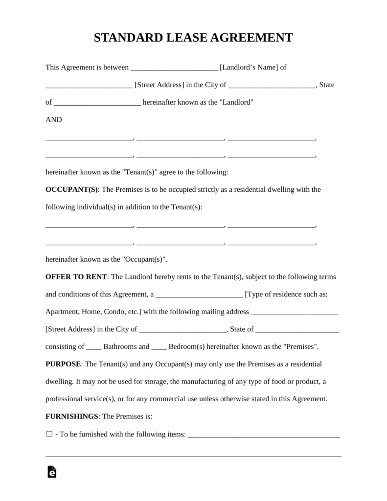 Free Rental Lease Agreement Templates - Residential & Commercial - Find Free Printable Forms Online