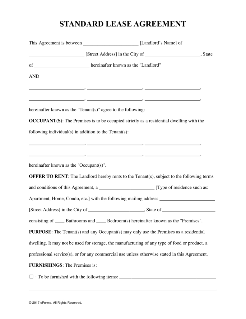 Free Rental Lease Agreement Templates - Residential & Commercial - Free Printable Lease