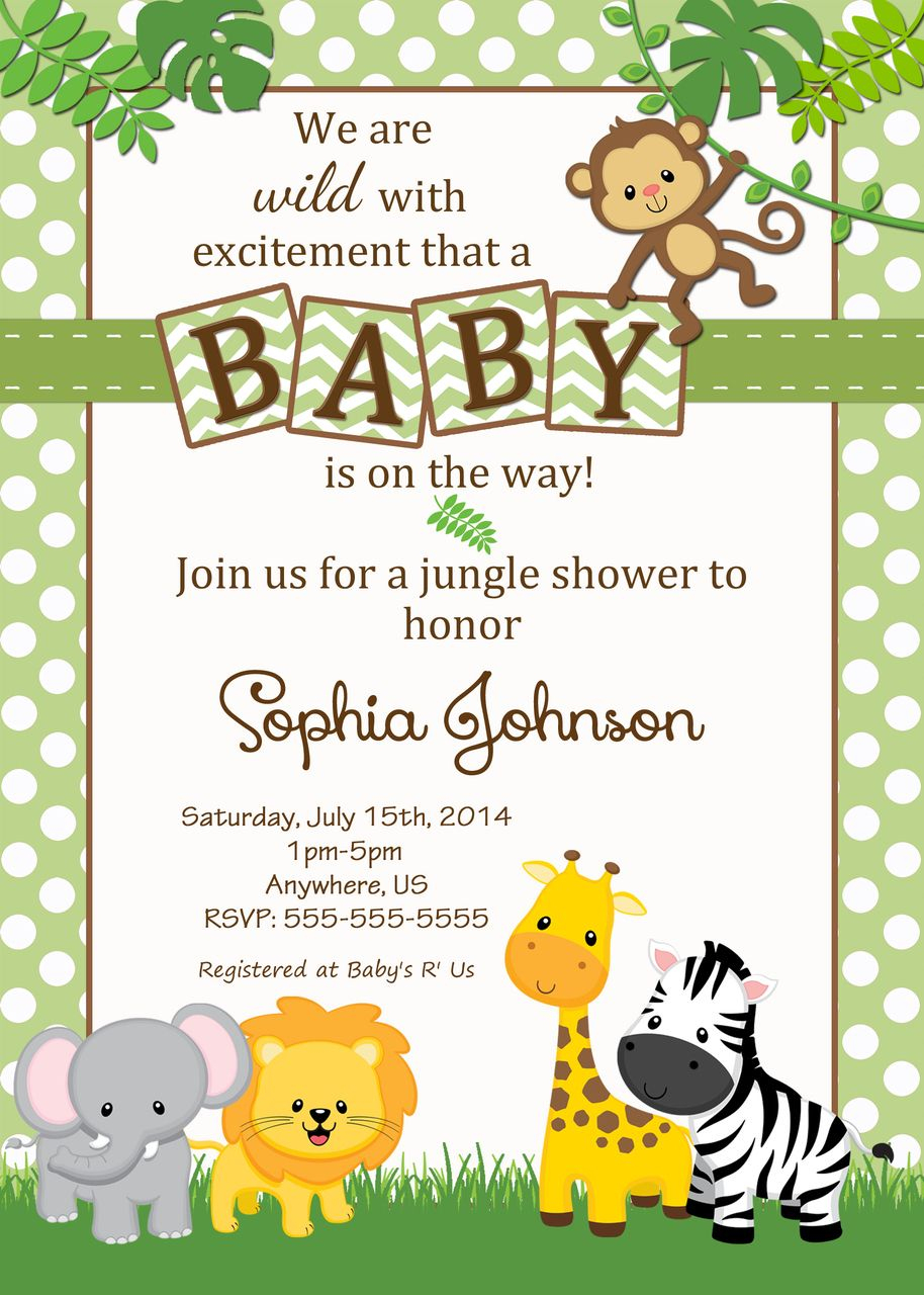 Free Safari Baby Shower Invitations - Google Search | Baby Shower - Free Printable Jungle Safari Baby Shower Invitations