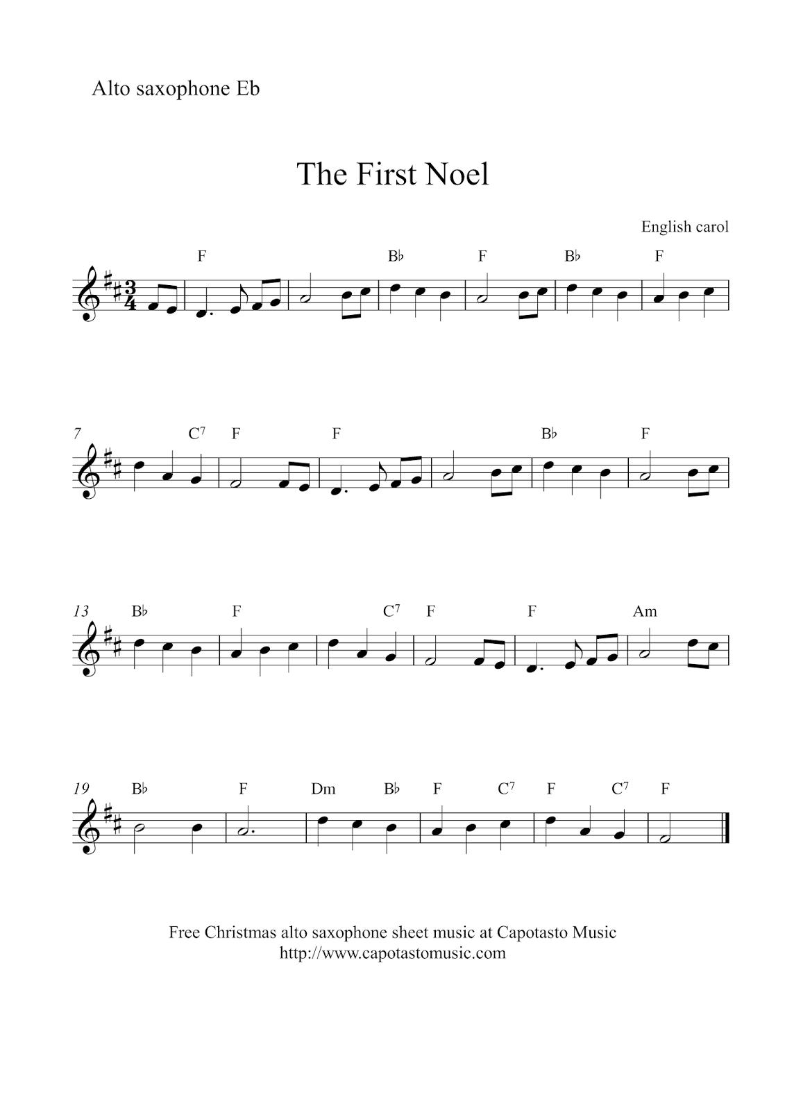 Free Sheet Music Scores: Alto Saxophone Christmas | Xmas Music - Free Printable Alto Saxophone Sheet Music