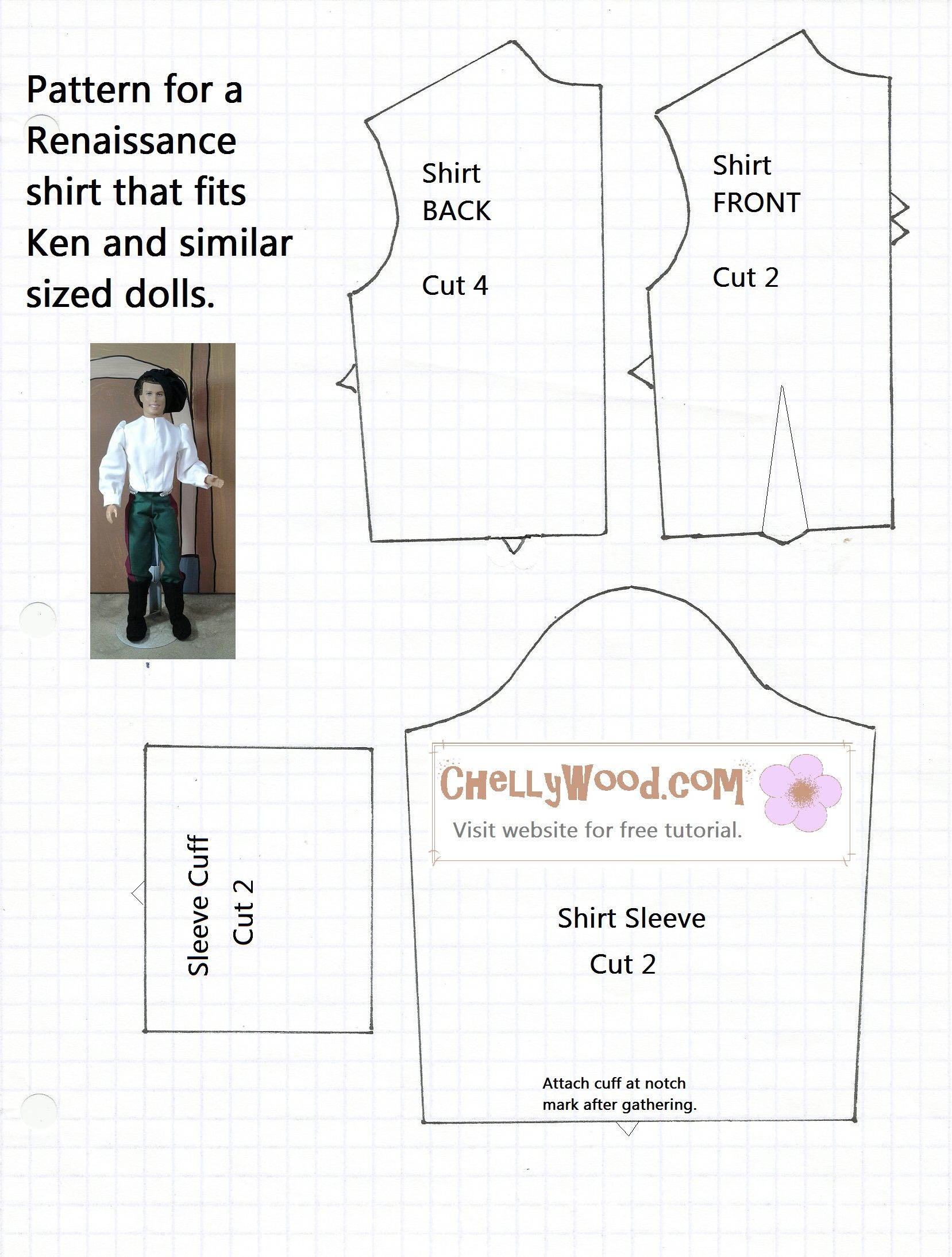 Free Shirt Pattern For Ken Dolls, Twilight's Edward Cullen Doll, And - Ken Clothes Patterns Free Printable