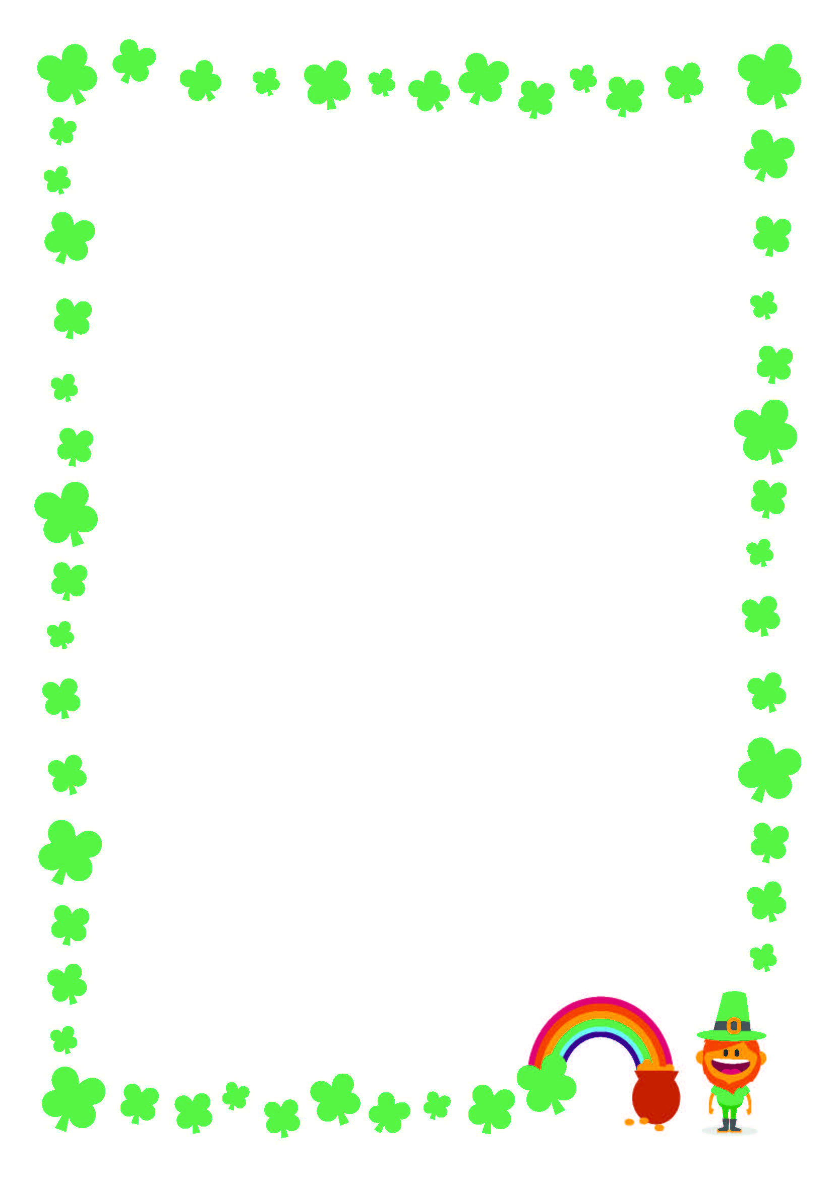 Free St. Patrick's Day Printable Writing Paper With Clover Border - Free Printable St Patricks Day Stationery