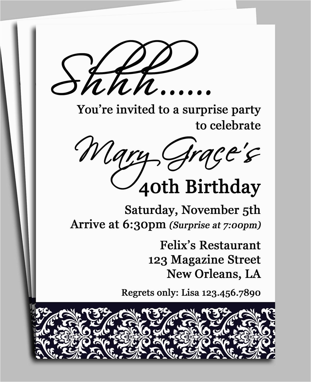 Free Surprise Birthday Party Invitations Black Damask Surprise Party - Free Printable Surprise 40Th Birthday Party Invitations