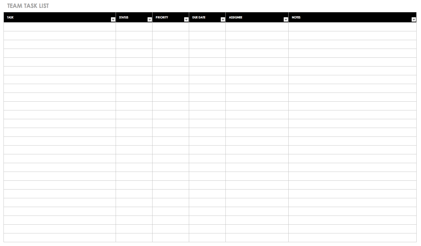 Free Task And Checklist Templates | Smartsheet - Free Printable Task Organizer