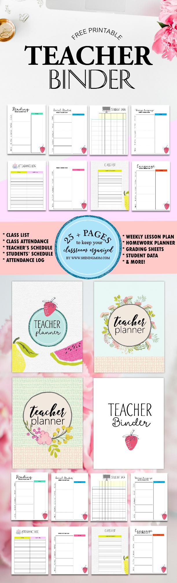 Free Teacher Binder Printables: Over 25 Pretty Planning Templates! - Free Printable Teacher Planner