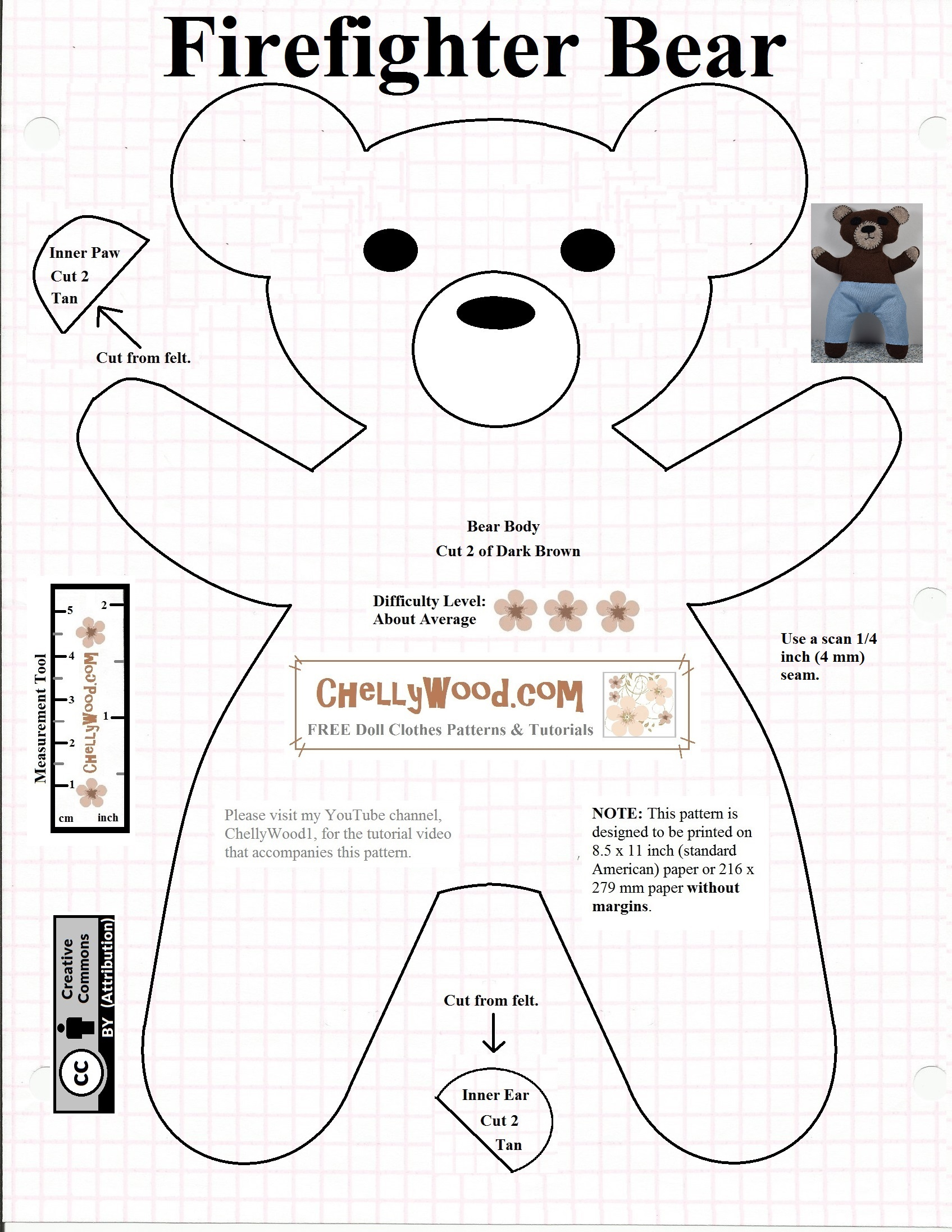Free #teddybear #plush #toy Pattern @ Chellywood – Chellywood - Free Printable Teddy Bear Clothes Patterns