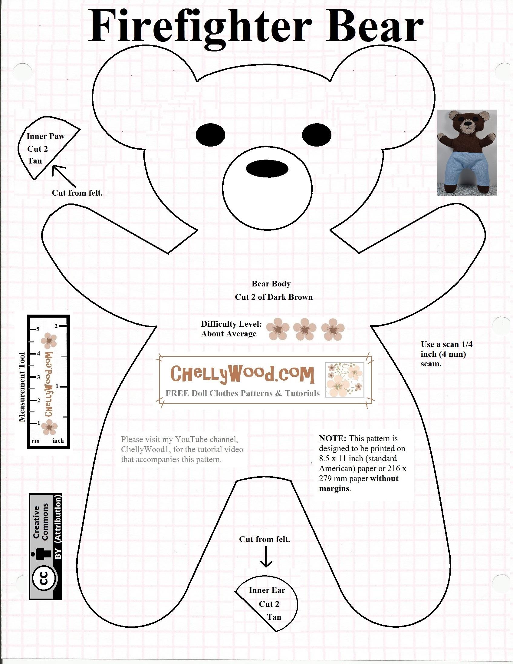 Free #teddybear #plush #toy Pattern @ Chellywood – Chellywood - Free Teddy Bear Patterns Printable