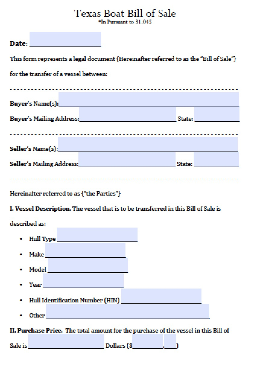 Free Texas Boat Bill Of Sale Form | Pdf | Word (.doc) - Free Printable Texas Bill Of Sale Form