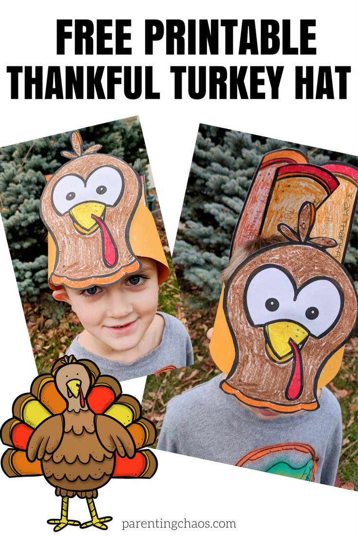 "Free ""thankful"" Turkey Hat Printable For Kids ⋆ Parenting Chaos - Free Printable Thanksgiving Hats"