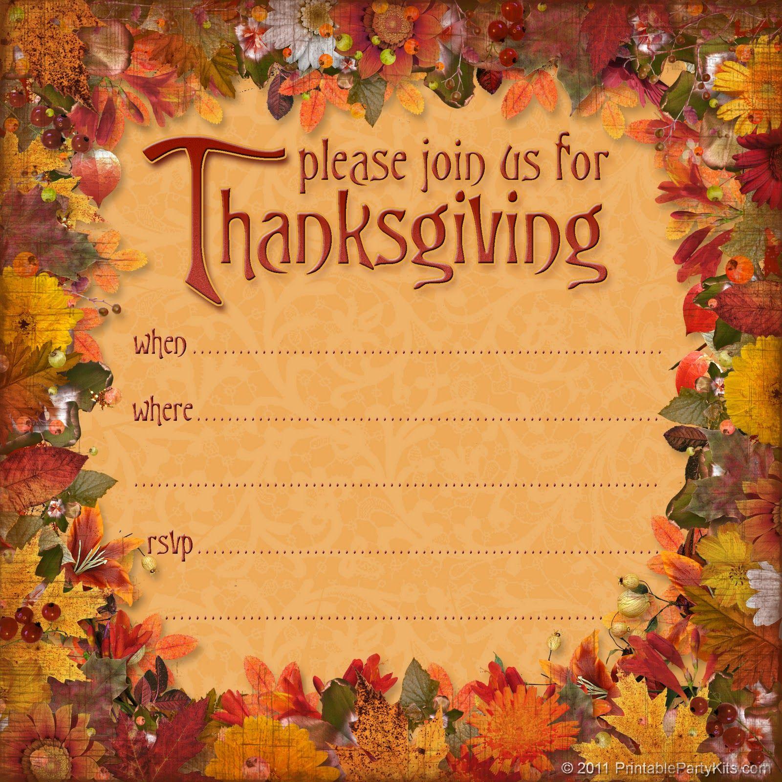 Free Thanksgiving Dinner Invitation | Thanksgiving | Thanksgiving - Free Printable Thanksgiving Invitations