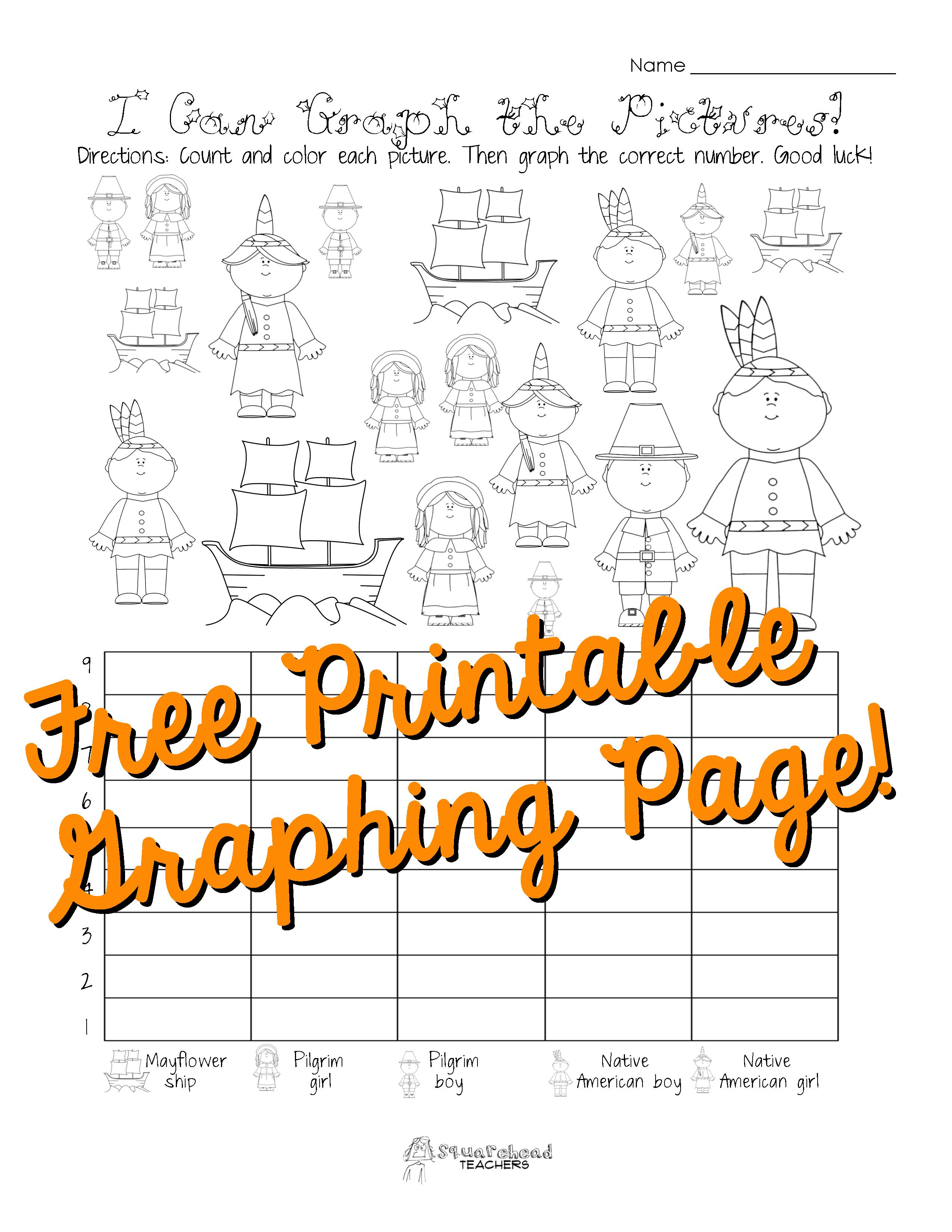 Free Thanksgiving Graphing Worksheet (Kindergarten, First Grade - Free Printable Thanksgiving Math Worksheets For 3Rd Grade