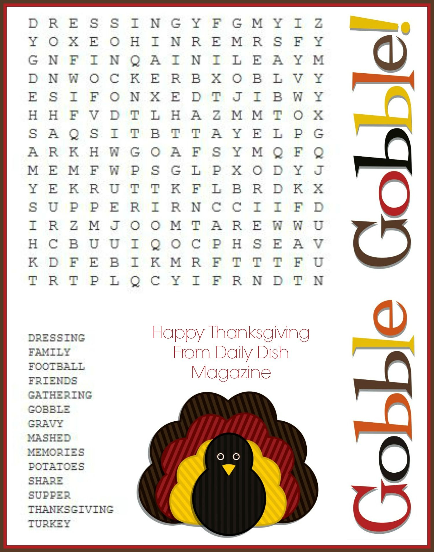 Free Thanksgiving Puzzles ~ Word Search And Maze Printable   Crafty - Thanksgiving Crossword Puzzles Printable Free