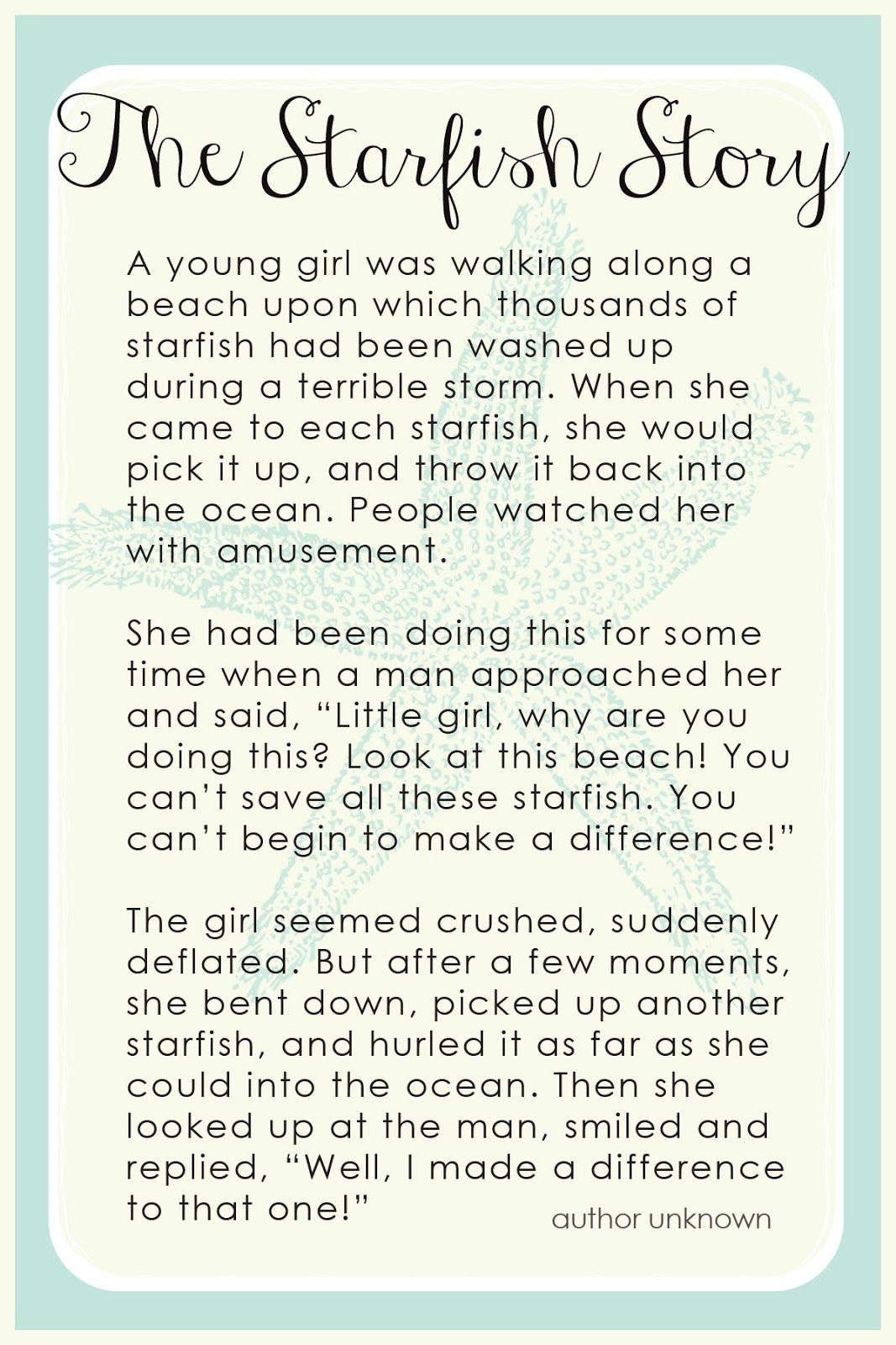Free! The Starfish Story Bookmark | Grades 6-8: Ideas & Resources - Starfish Story Printable Free