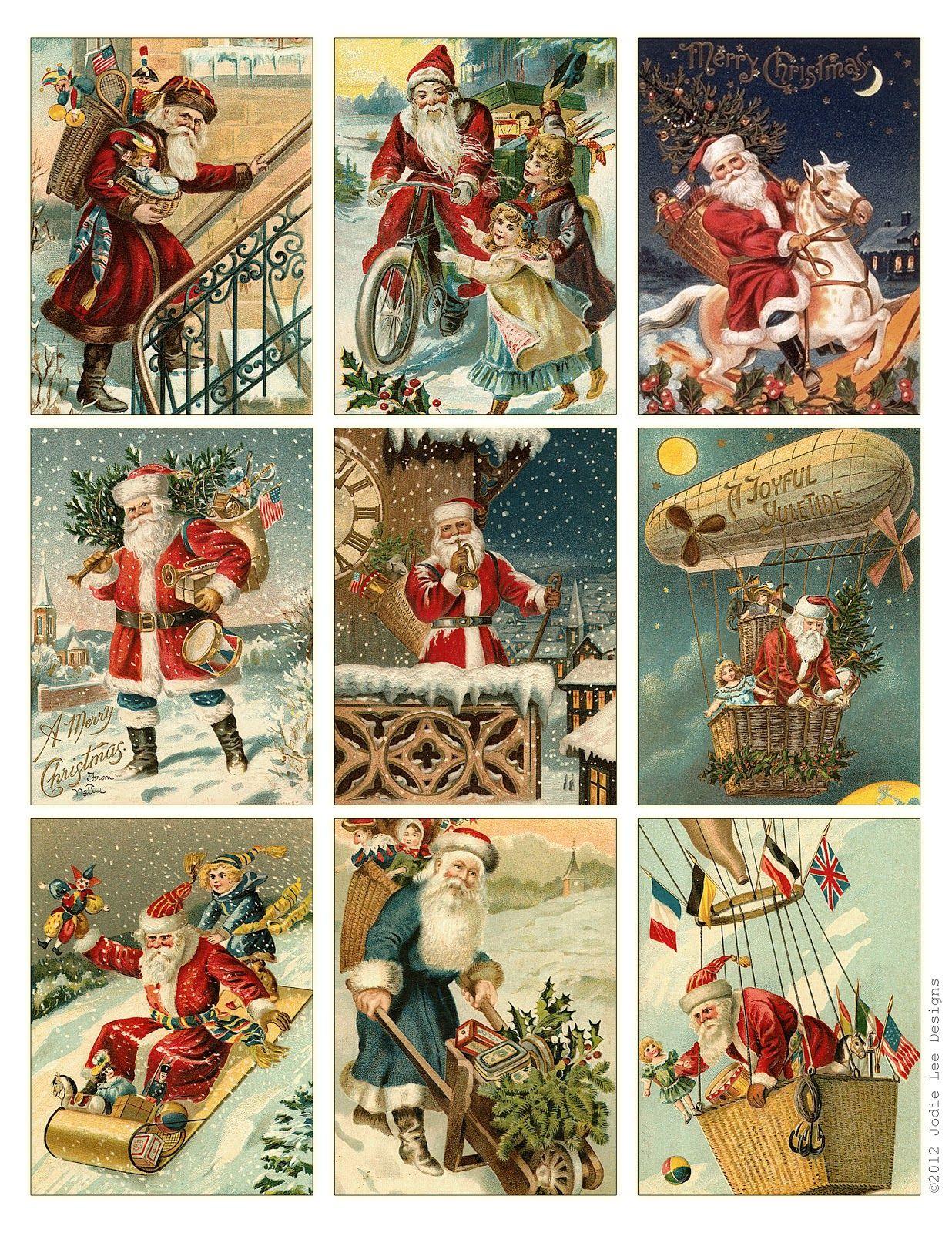Free To Download! Printable Vintage Santa Tags Or Cards. | Free - Free Printable Vintage Art