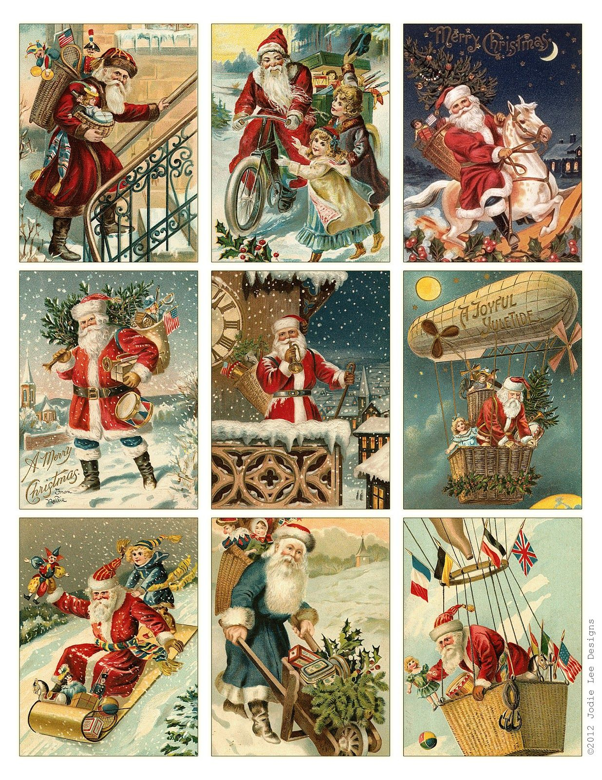 Free To Download! Printable Vintage Santa Tags Or Cards. | Free - Free Printable Vintage Christmas Images