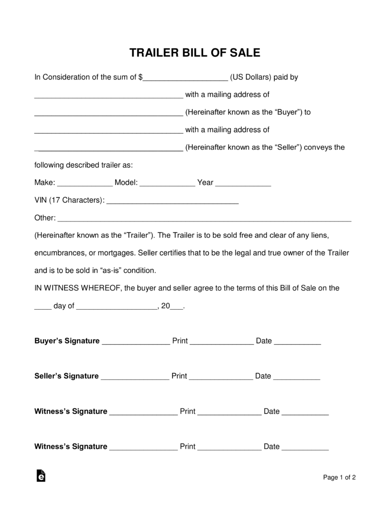 Free Trailer Bill Of Sale Form - Word | Pdf | Eforms – Free Fillable - Free Printable Bill Of Sale For Trailer