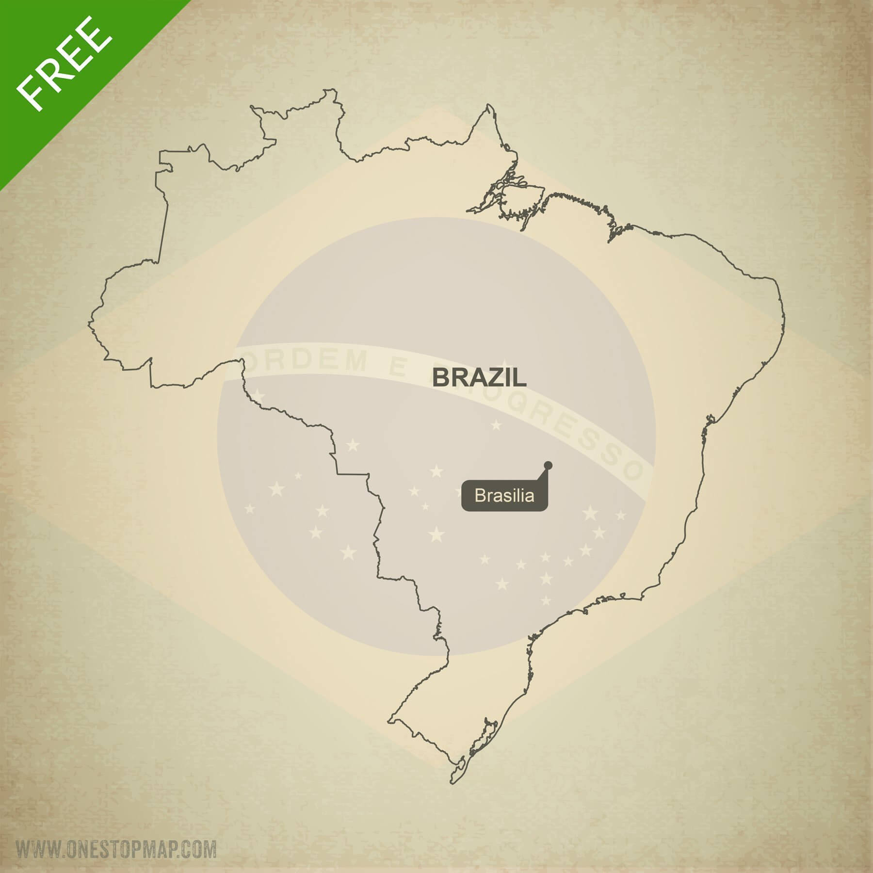 Free Vector Map Of Brazil Outline | One Stop Map - Free Printable Map Of Brazil