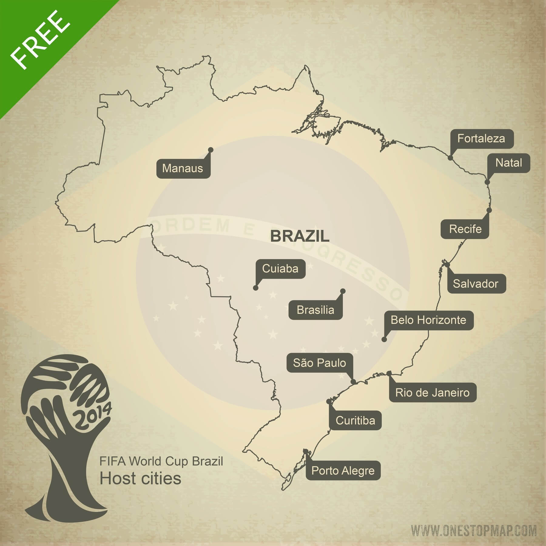 Free Vector Map Of Brazil World Cup 2014 | One Stop Map - Free Printable Map Of Brazil