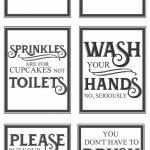 Free Vintage Bathroom Printables   Favorite Diy And Best Crafts   Free Printable Flush The Toilet Signs
