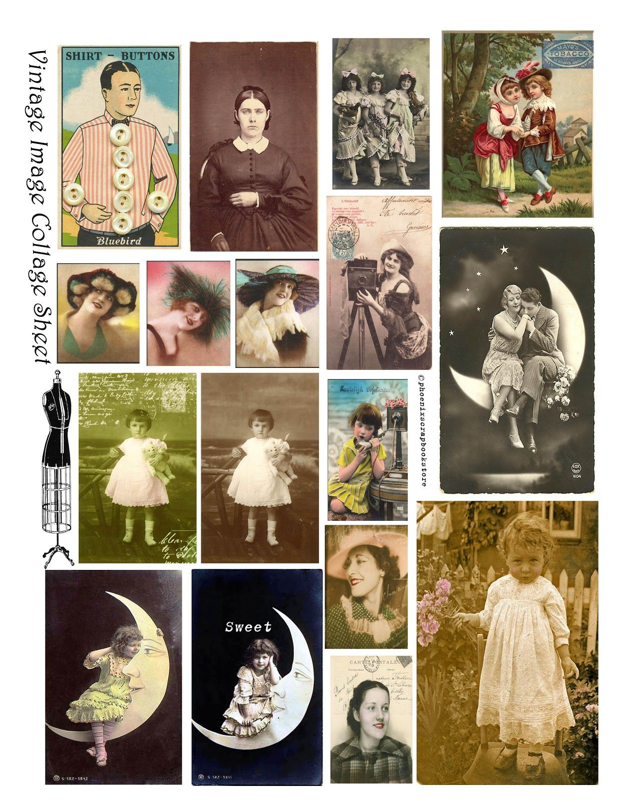 Free Vintage Digital Stamps**: Free Printable - Digital Collage - Free Printable Digital Collage Sheets