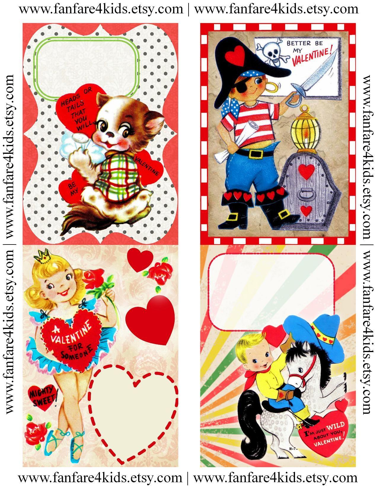 Free Vintage Printables | Vintage Kids Valentines - Free Printable - Free Printable Vintage Valentine Pictures