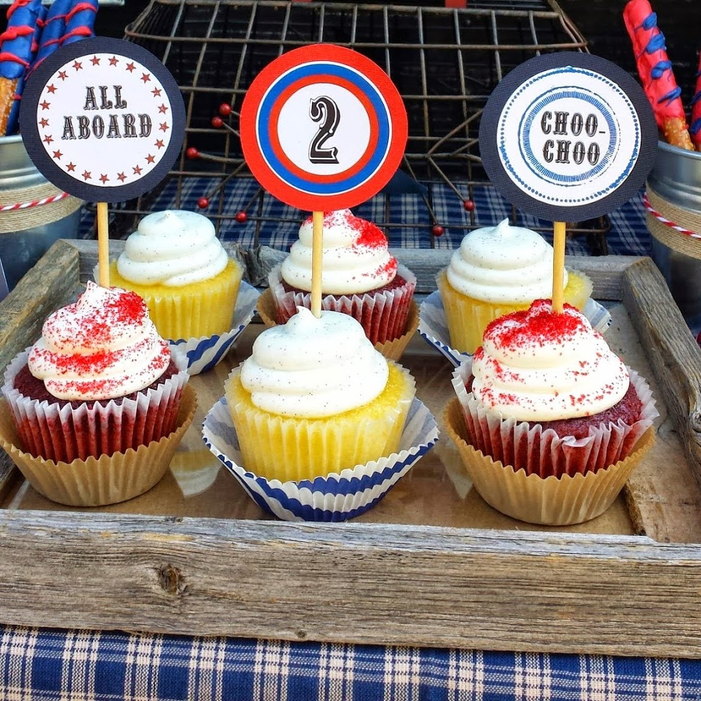 Free Vintage Train Party Printable - Free Printable Train Cupcake Toppers