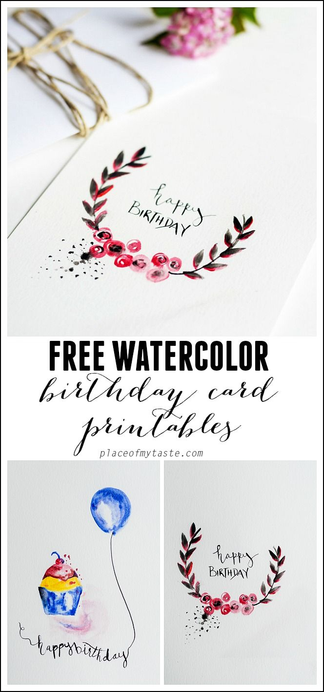 Free Watercolor Birthday Card Printables   Printables   Watercolor - Free Printable Birthday Cards For Husband