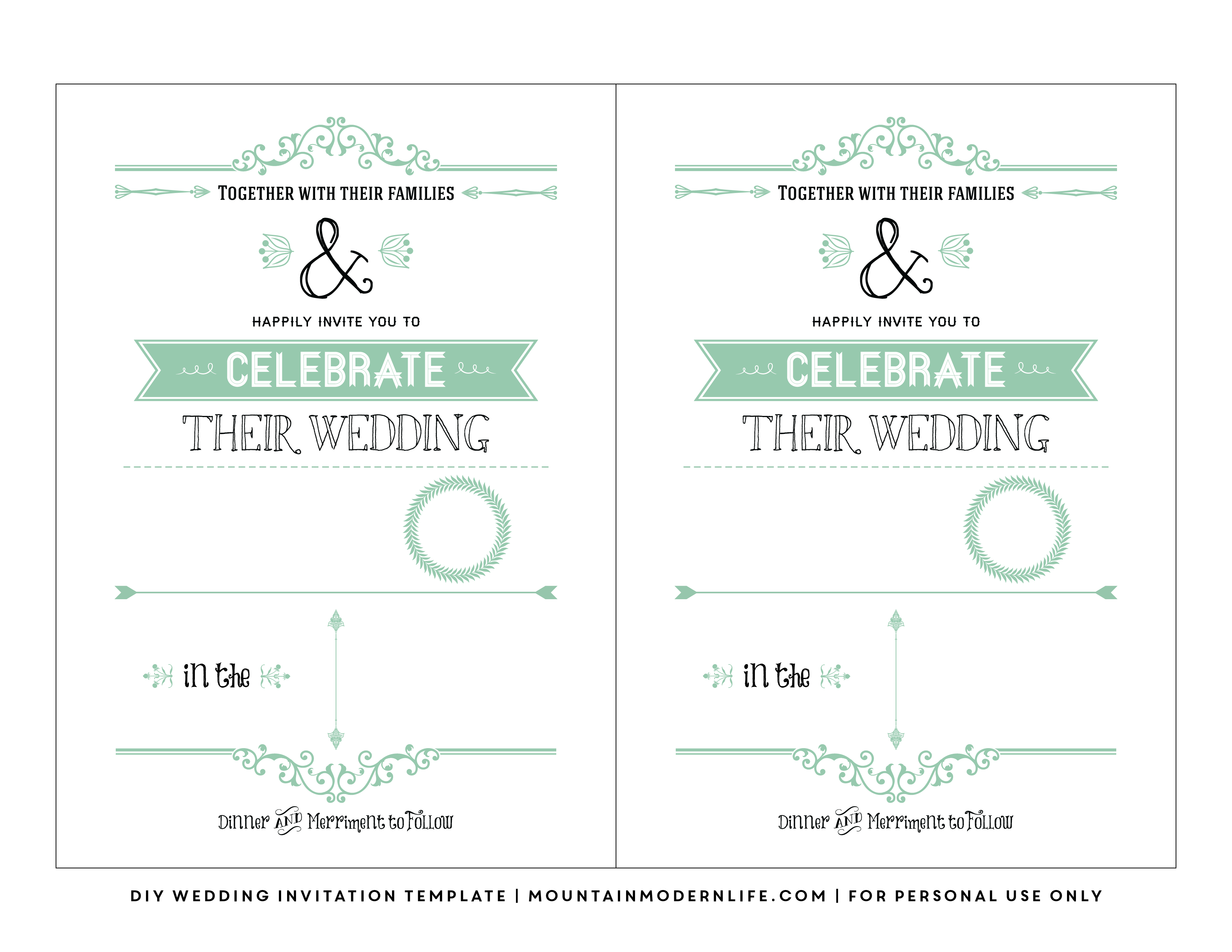 Free Wedding Invitation Template | Mountainmodernlife - Free Printable Wedding Invitations