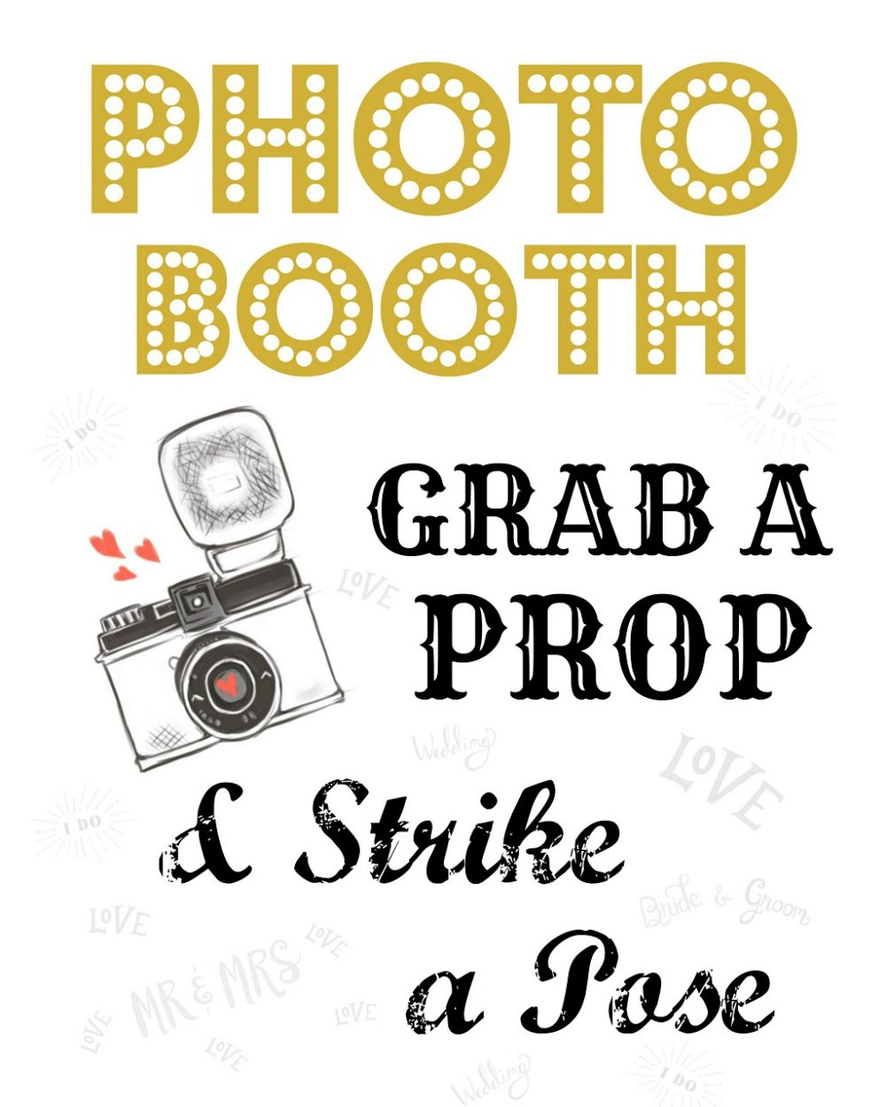 Free Wedding Photo Booth Sign • Scrappy Geek - Free Printable Photo Booth Sign