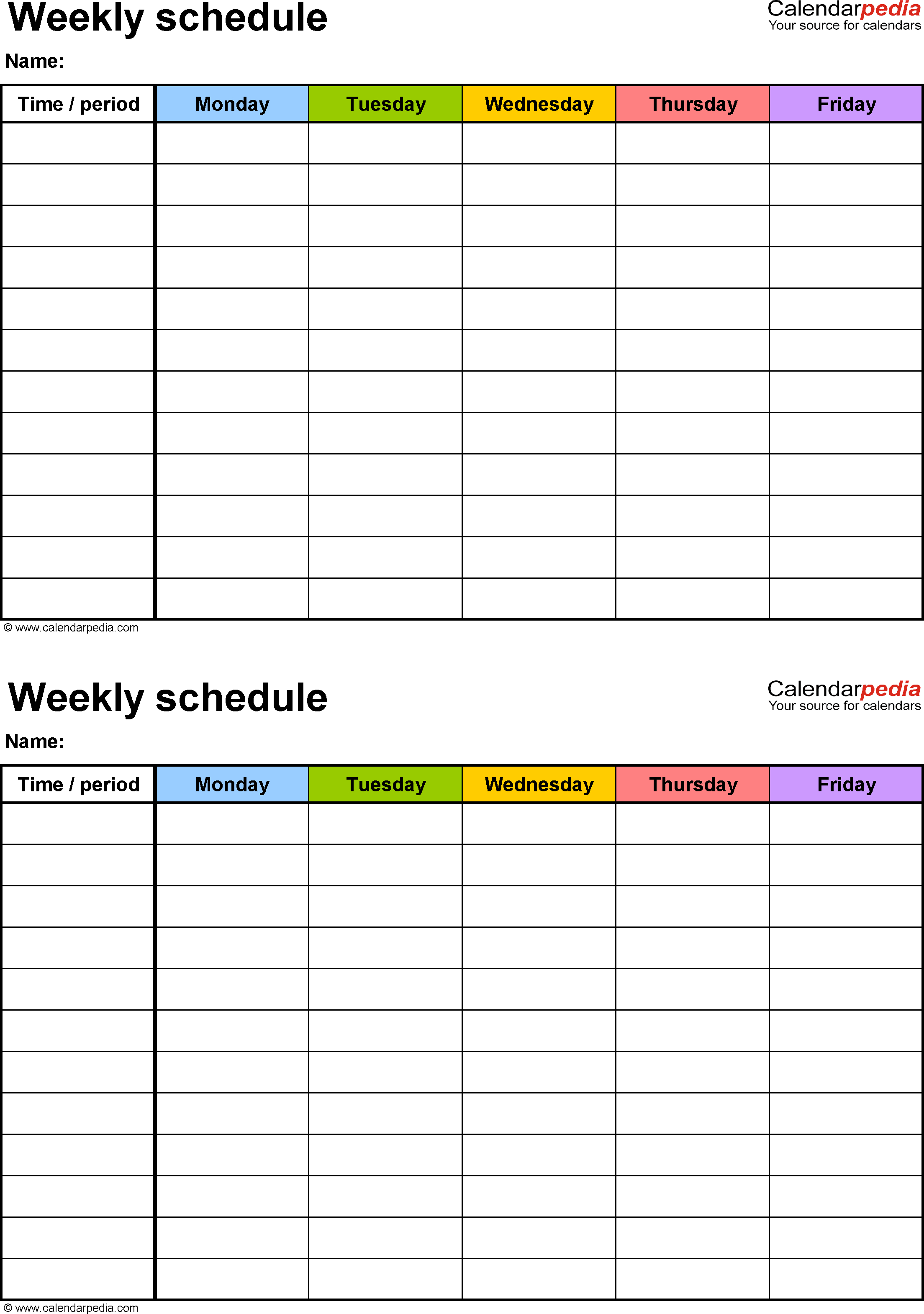 Free Weekly Schedule Templates For Word - 18 Templates - Free Printable School Agenda Templates