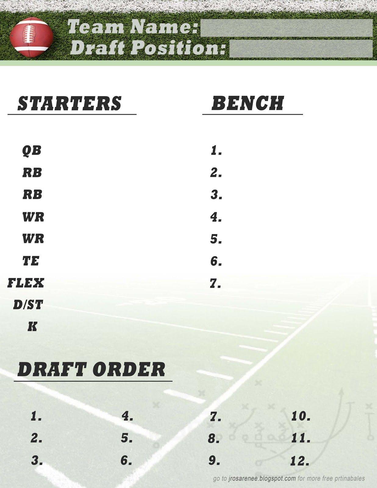 Freebie Friday, Fantasy Football Roster #free #printable   Great - Fantasy Football Draft Sheets Printable Free
