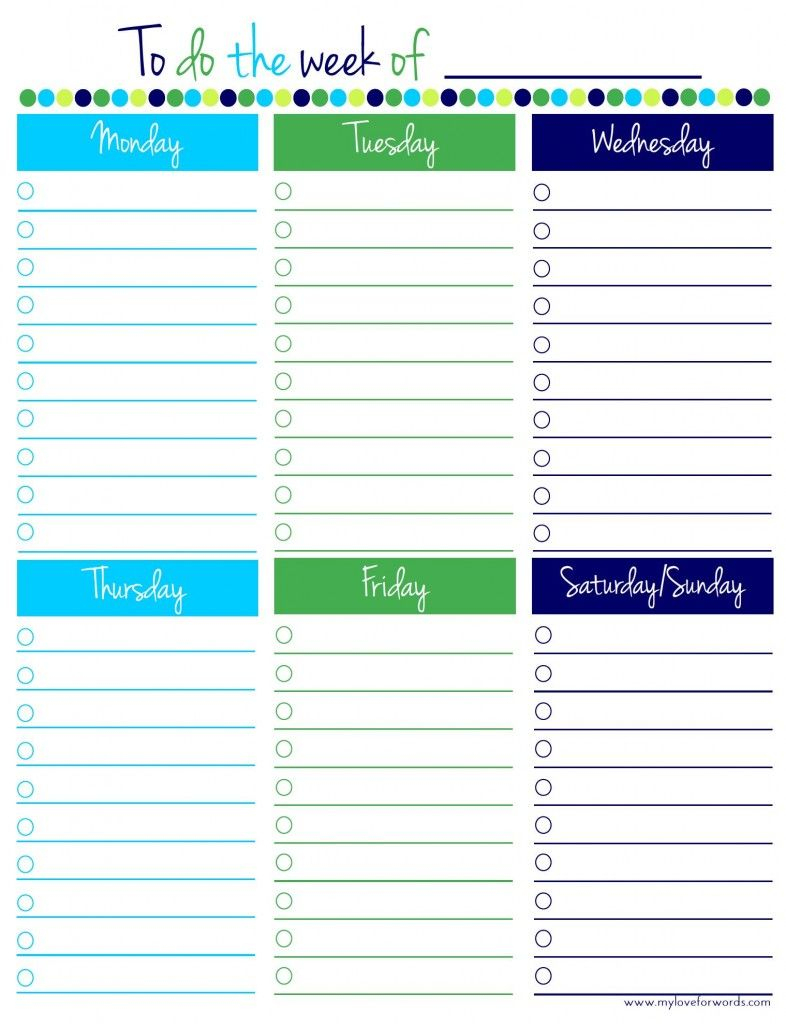 Freebie Friday: Weekly To Do List | Thrifty Thursday @ Lwsl | Weekly - Weekly To Do List Free Printable