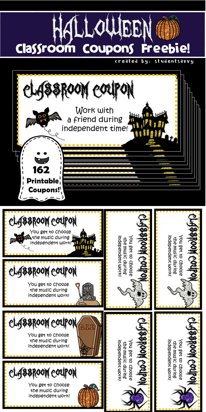 Freebie!! Spooky Style 162 Printable Classroom Coupons! 25 Different - Free Printable Homework Pass Coupon