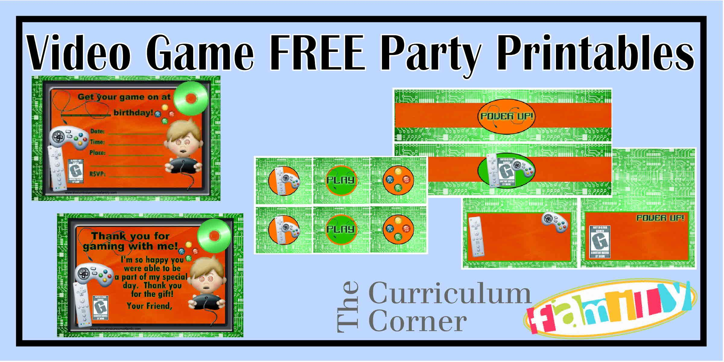 Freebie Video Game Party Printables - Great For A Video Game Truck - Free Printable Video Game Party Invitations