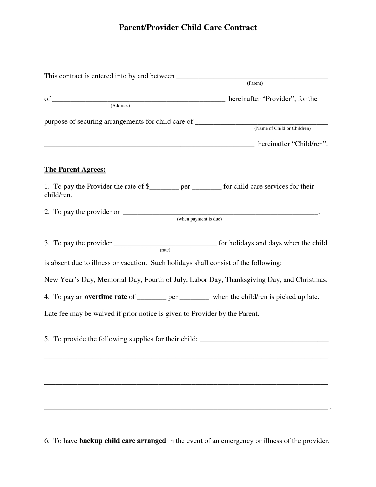 Free+Daycare+Contract+Forms | Printable Daycare Forms | Pinterest - Free Printable Daycare Forms For Parents