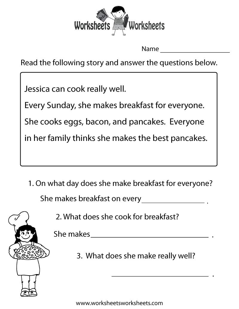 Freeeducation/worksheets For Second Grade |  Comprehension - Free Printable Grade 1 Reading Comprehension Worksheets