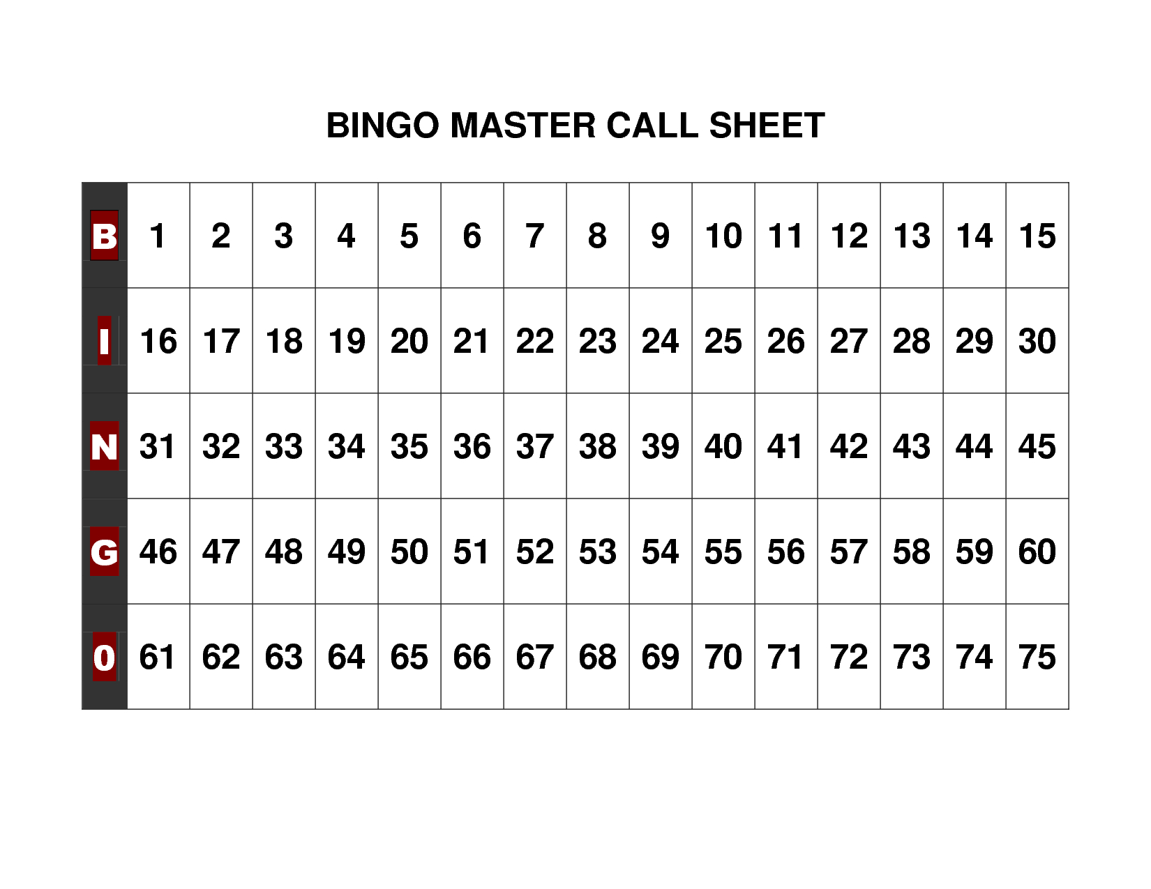 Free+Printable+Bingo+Call+Sheet | Bingo | Pinterest | Bingo, Bingo - Free Printable Bingo Cards 1 100