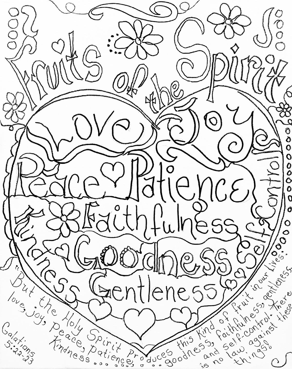 Fruits Of The Spirit Coloring Pagecarolyn Altman. Galatians 5:22 - Fruit Of The Spirit Free Printable