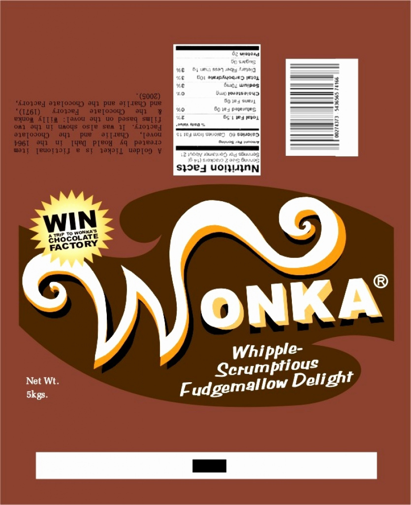 Full Size Candy Bar Wrapper Template Fresh Fein Wonka Bar Wrapper - Free Printable Wonka Bar Wrapper Template