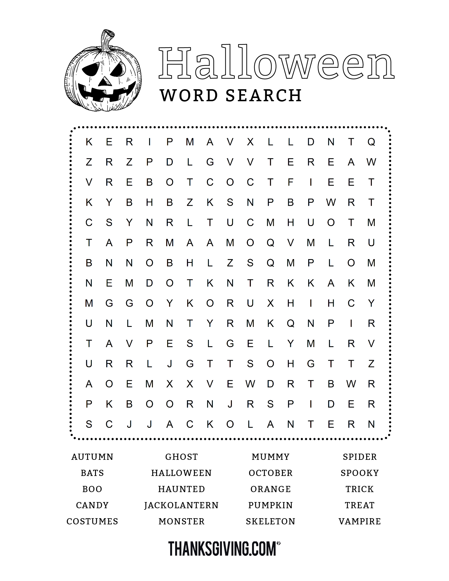 Fun & Free Printable Halloween Word Search - Thanksgiving - Free Printable Halloween Puzzles