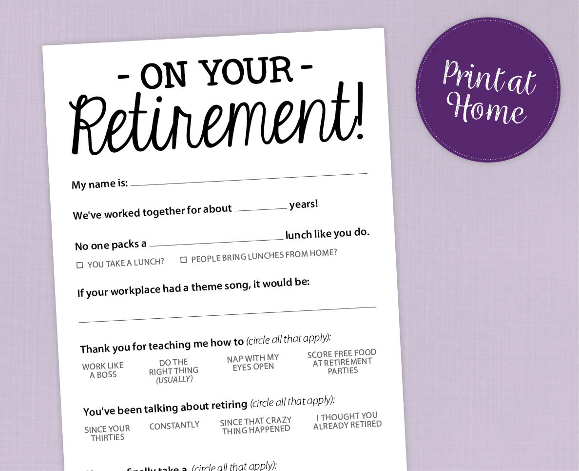Fun Retirement Party Game Printable Pdf Card | Etsy - Retirement Party Games Free Printable