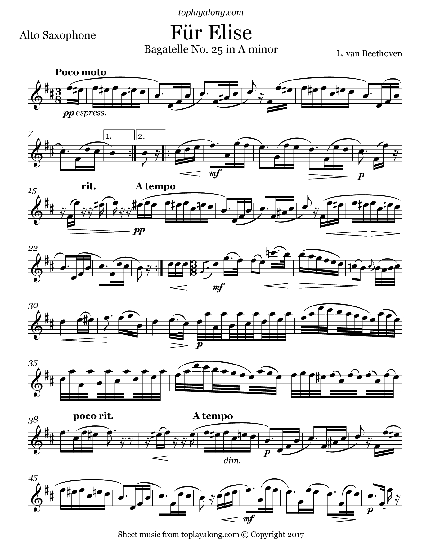 Für Elise – Toplayalong - Free Printable Piano Sheet Music Fur Elise