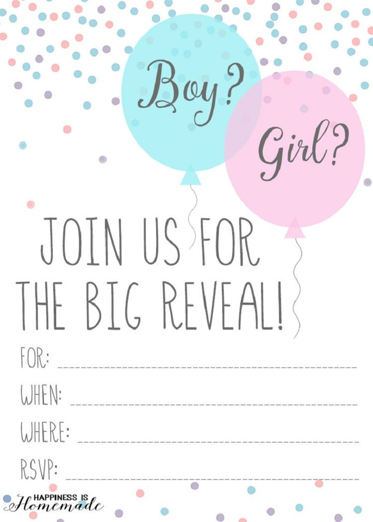 Gender Reveal Party Invitations Printable | Party Invitation Ideas - Free Printable Gender Reveal Invitations