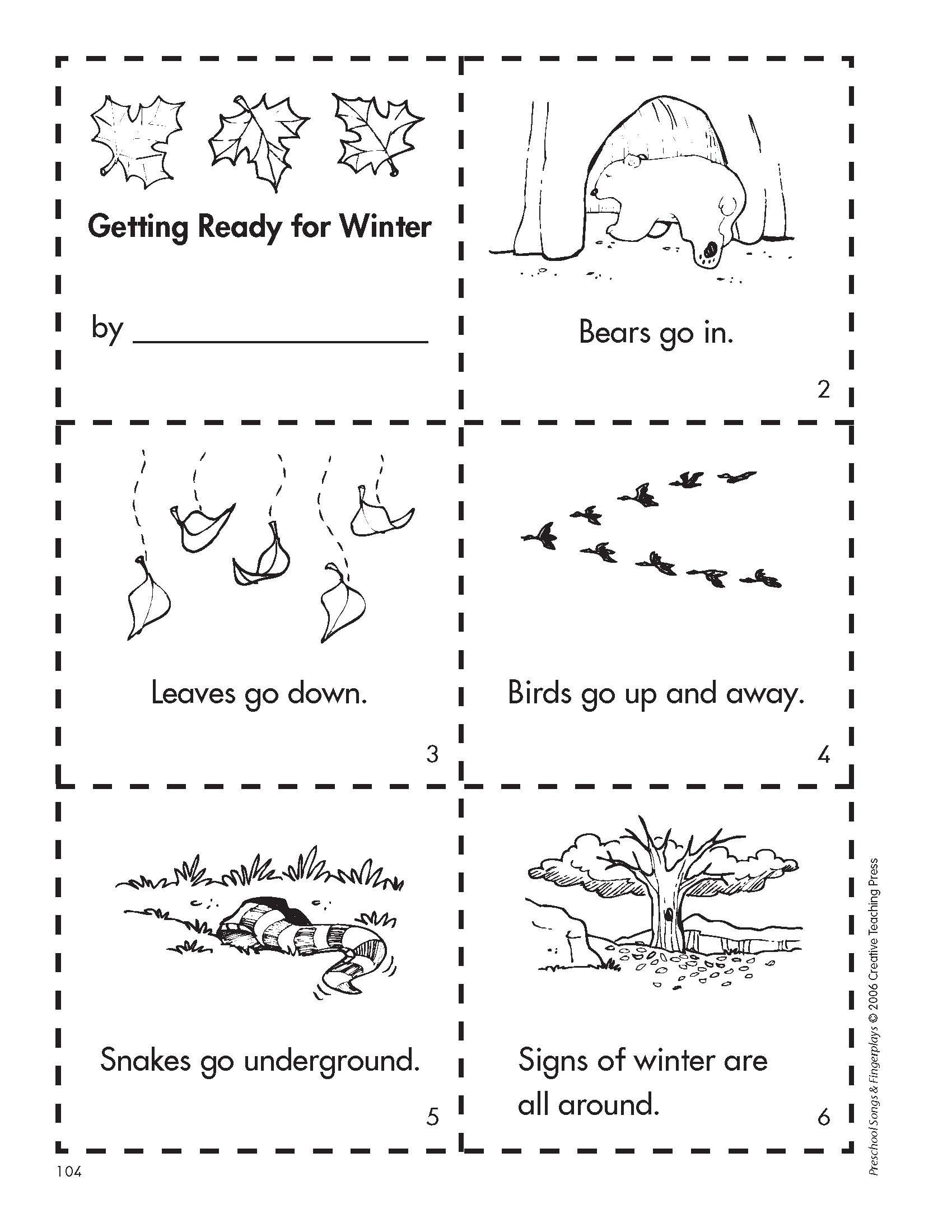 Get Ready For Winter With This Free Minibook Reproducible. | Fall - Free Printable Hibernation Worksheets