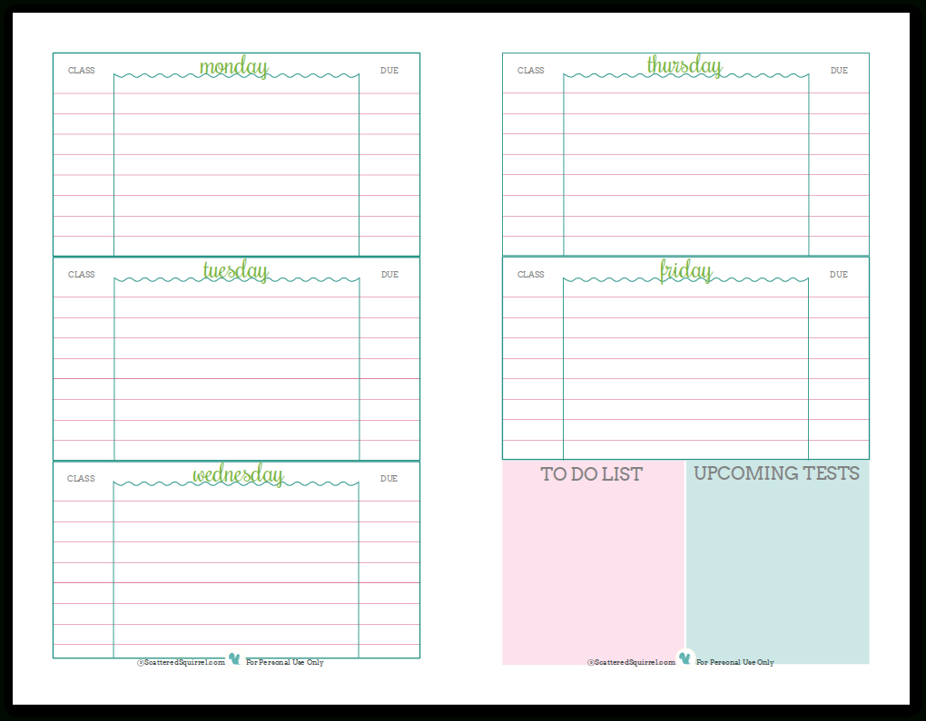 Getting Ready For Back To School - Student Planner Printables - Free Printable School Agenda Templates