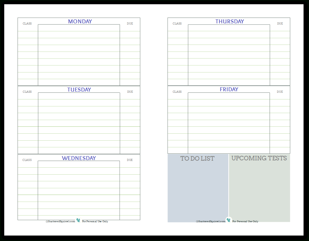 Getting Ready For Back To School - Student Planner Printables - Student Planner Template Free Printable