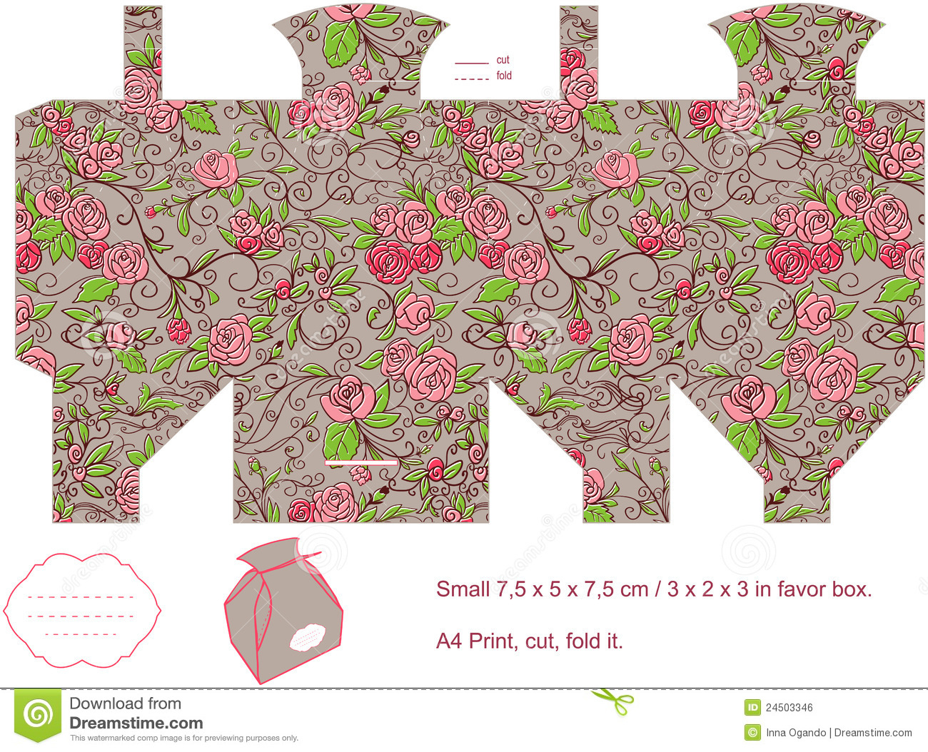 Gift Box Template Stock Vector. Illustration Of Floral - 24503346 - Printable Box Templates Free Download