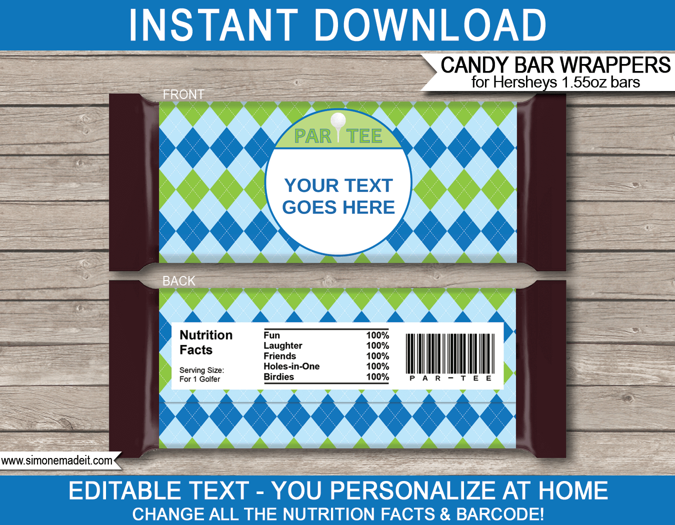 Golf Hershey Candy Bar Wrappers | Personalized Candy Bars - Free Printable Birthday Candy Bar Wrappers