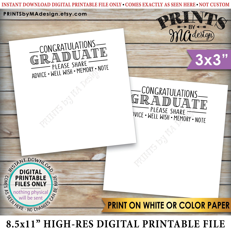 Graduation Advice Cards Congratulations Graduate Memory | Etsy - Free Printable Graduation Advice Cards