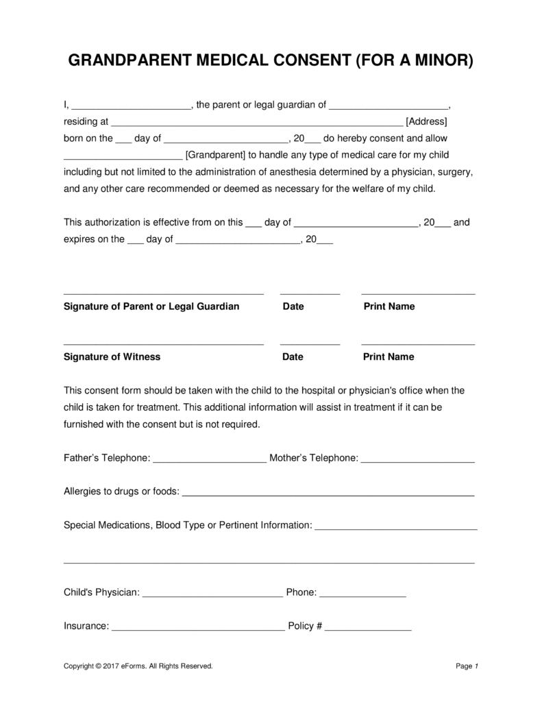Grandparents' Medical Consent Form – Minor (Child)   Eforms – Free - Free Printable Medical Forms Kit